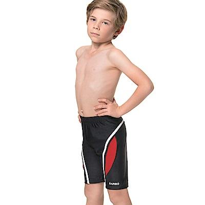 沙兒斯 兒童泳裝 紅色邊飾七分男童泳褲