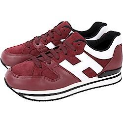 HOGAN H222 拼接麂皮厚底繫帶休閒鞋(紅色)