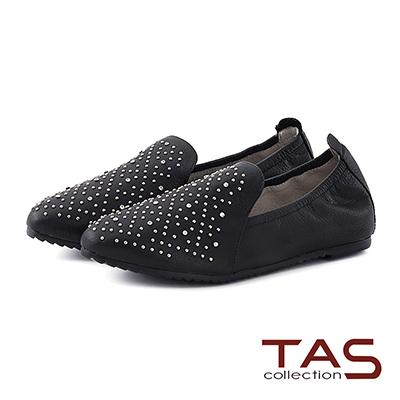 TAS 水鑽混搭鉚釘全真皮休閒鞋-個性黑