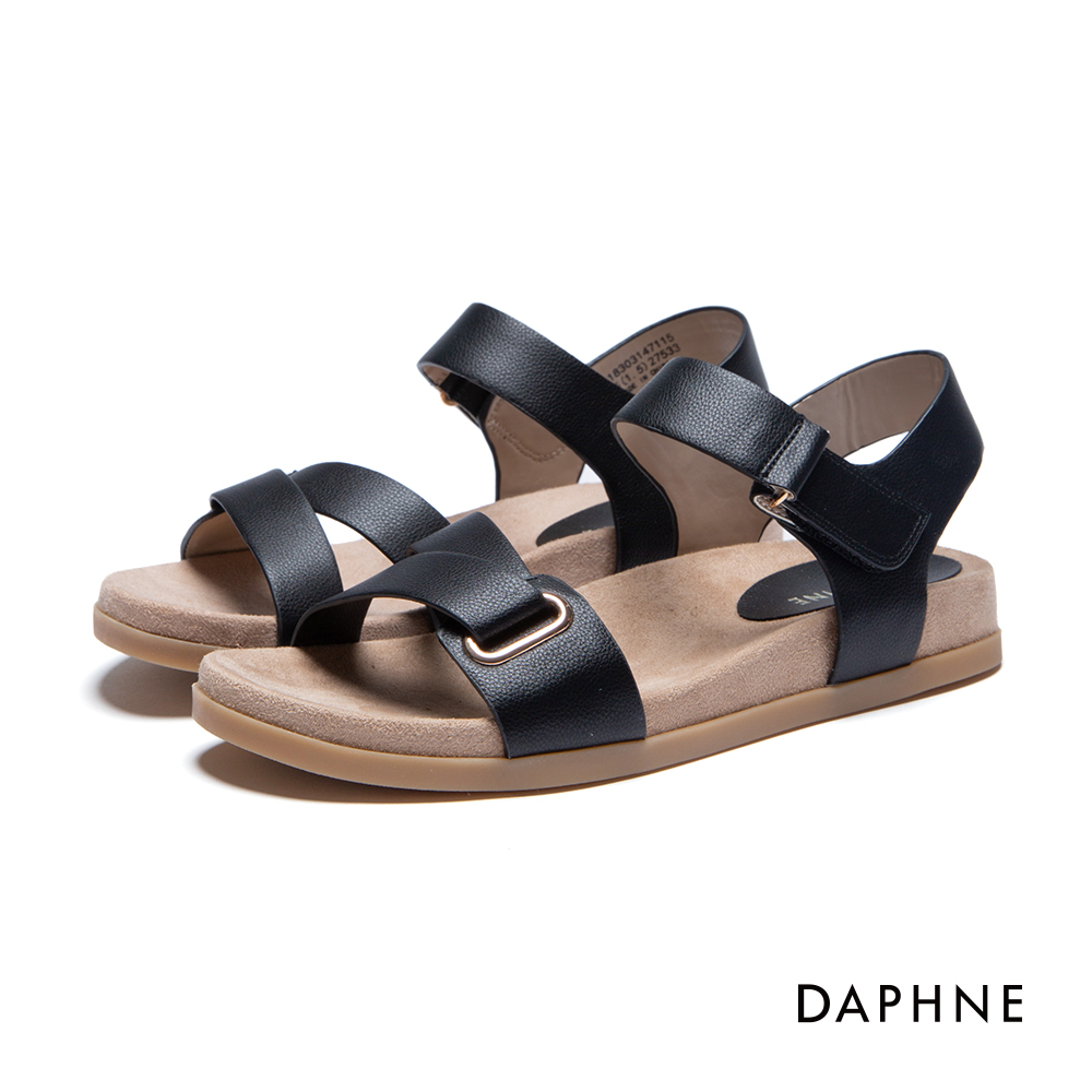 達芙妮DAPHNE 涼鞋-ㄑ型條帶魔鬼氈平底涼鞋-黑