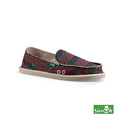 SANUK 幾何圖騰懶人鞋-女款(紅綠色)