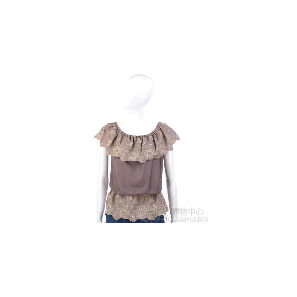 PAOLA FRANI 灰褐色繡花綴飾抓皺上衣