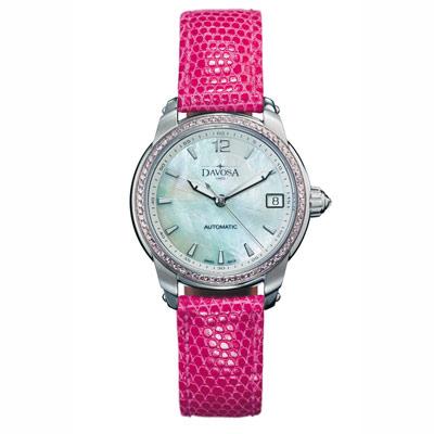 DAVOSA Ladies Delight 系列 經典時尚真鑽腕錶-白x粉色錶帶/34mm