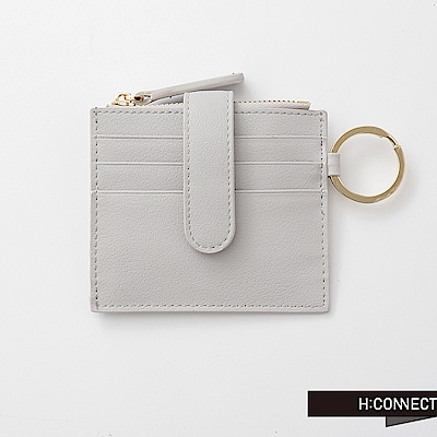 H:CONNECT 韓國品牌 質感皮革零錢夾-淺灰