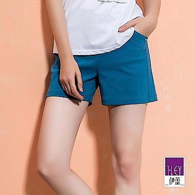 ILEY伊蕾 造型口袋彈力百搭短褲(黑/藍)