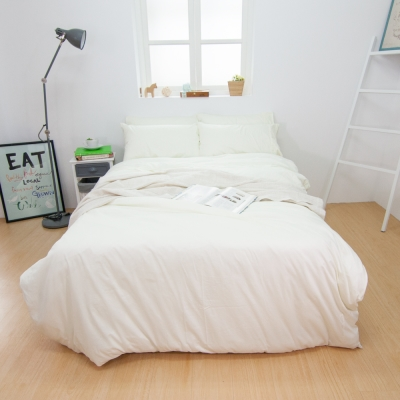 鴻宇HongYew 100%精梳棉 簡約純色-米白 單人薄被套