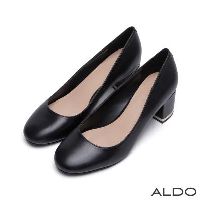 ALDO-原色真皮鞋面復古圓頭雙夾心粗跟鞋-尊爵黑色