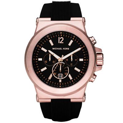 Michael Kors設計師時代風尚金采三眼計時腕錶-黑/48mm