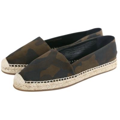 BURBERRY 迷彩圖騰棉麻麂皮麻織鞋(咖綠色)