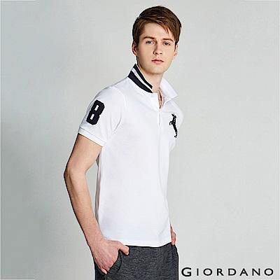 GIORDANO 男裝拿破崙立體刺繡彈力萊卡短袖POLO衫-08 標誌白