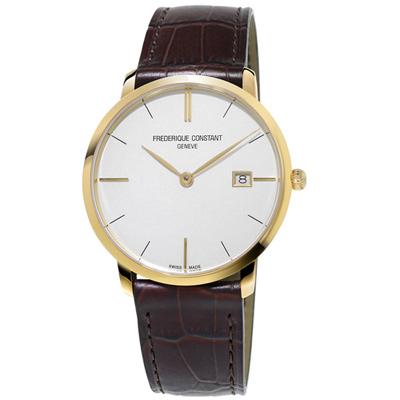 康斯登 CONSTANT SLIMLINE超薄系列MIDSIZE DATE腕錶-咖啡