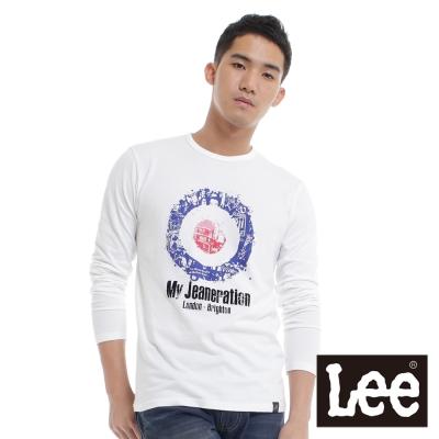 Lee-長袖T恤-摩登衣族植絨作古燙印-男款-白