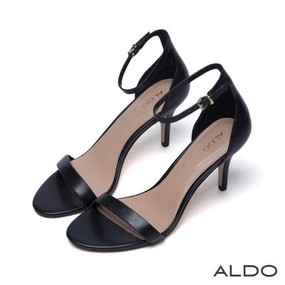ALDO真皮原色一字露趾金屬釦繫踝跟鞋-尊爵黑色