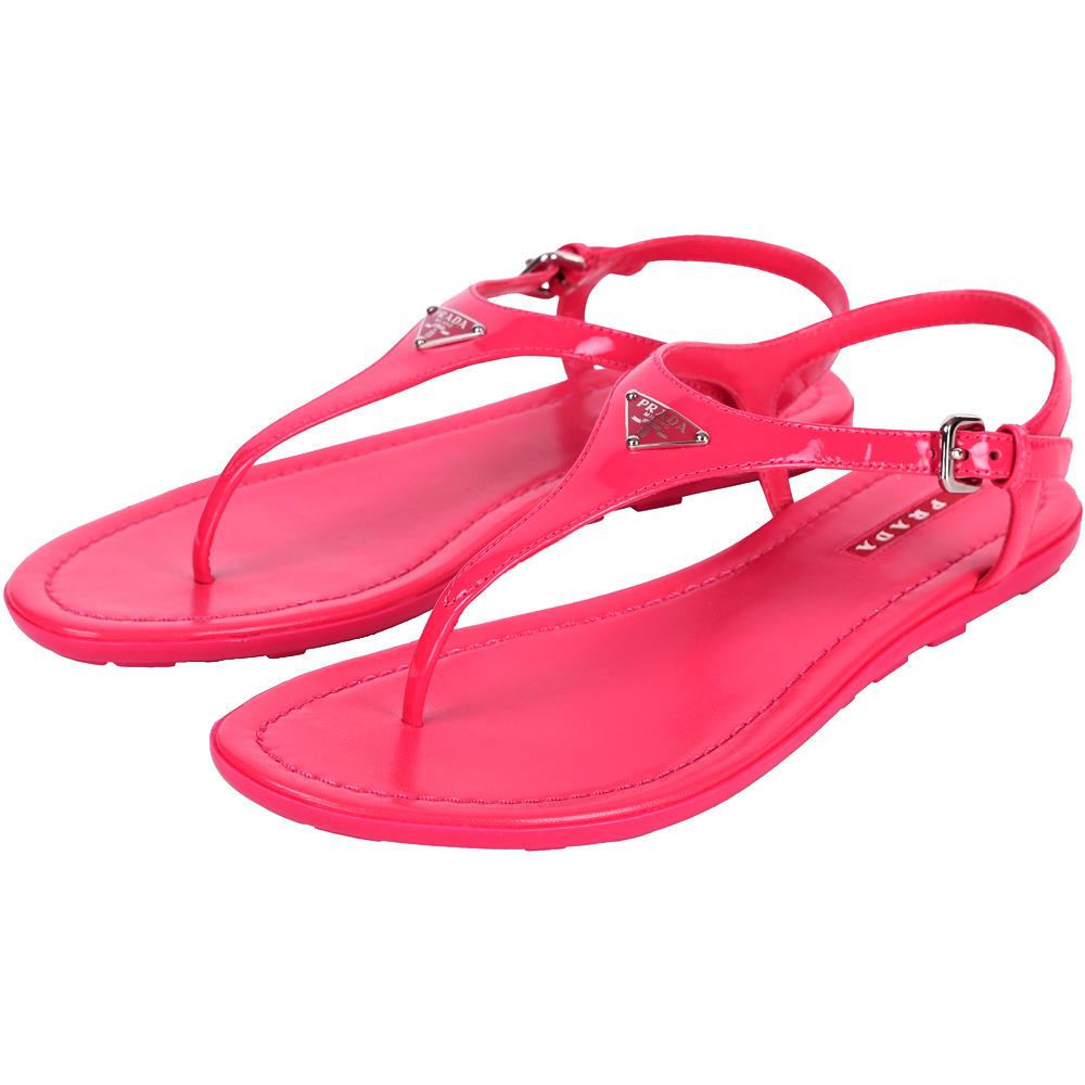PRADA 漆皮夾腳涼鞋(桃紅色)