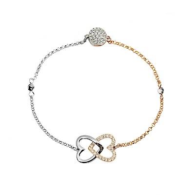 SWAROVSKI 施華洛世奇 雙色連環鏤空愛心水晶磁扣式玫瑰金手鍊手環