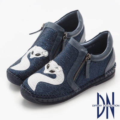 DN 歐美魅力 MIT耀眼狐魅寶石鑽飾休閒鞋-藍