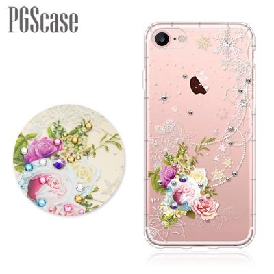 PGS iPhone8/7 4.7吋奧地利彩鑽防摔手機殼-緋雪薔薇