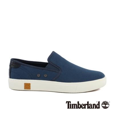 Timberland 男款海軍藍帆布雙側鬆緊帶便鞋