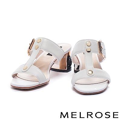 拖鞋 MELROSE 內斂奢華金屬雙字帶牛皮高跟拖鞋-白