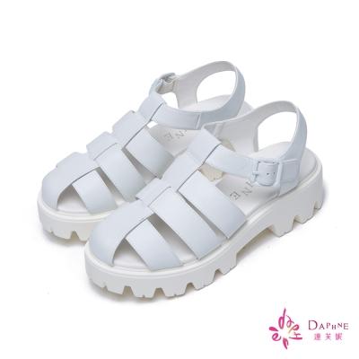 達芙妮DAPHNE-璀璨羅馬魚骨方釦休閒厚底鞋-清