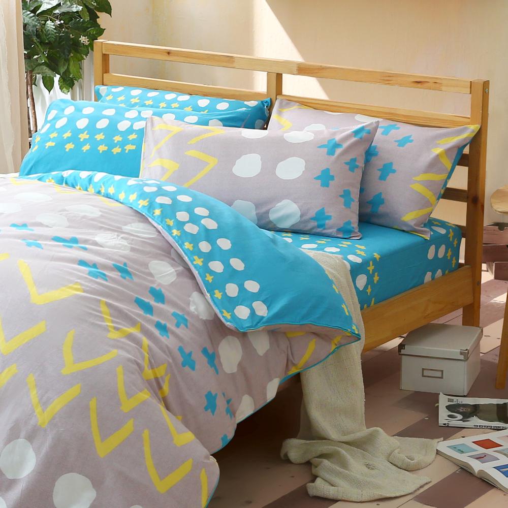 GLDEN-TIME-隨興的星期天-100%純棉兩用被床包組(雙人-藍)