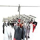 LISAN 35夾頭可摺疊式不鏽鋼晾衣架/衣夾(2入)