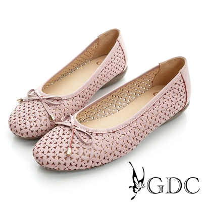 GDC百搭-雕花簍空蝴蝶結真皮平底娃娃鞋-粉色