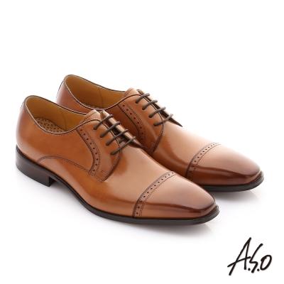 A.S.O 尊榮青紳 牛皮奈米綁帶紳士鞋 茶色