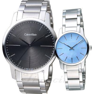 Calvin Klein 純粹愛戀時尚對錶(K2G2G1Z3+K2G2314X)黑x藍