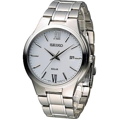 SEIKO Solar 城市旅人時尚腕錶(V157-0BE0S)白/41mm
