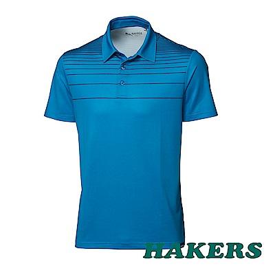 【HAKERS】男-條紋快乾POLO衫-藍色