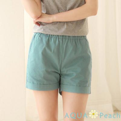 蠟筆色鬆緊腰反摺管短褲(共四色)-AQUA Peach
