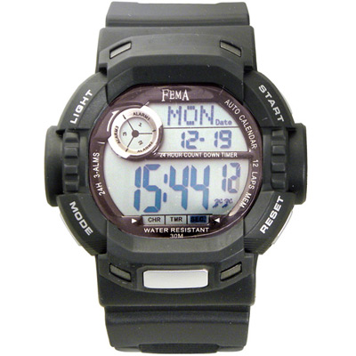FEMA 時光戰警 計時鬧鈴運動錶(P319)-黑/45mm