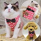 【摩達客寵物】粉紅白圓點背心領結胸背帶牽繩裝(遛貓咪遛小狗超萌神器)