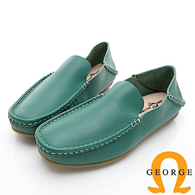 GEORGE 喬治-水洗系列 素面縫線懶人休閒鞋 男鞋-綠