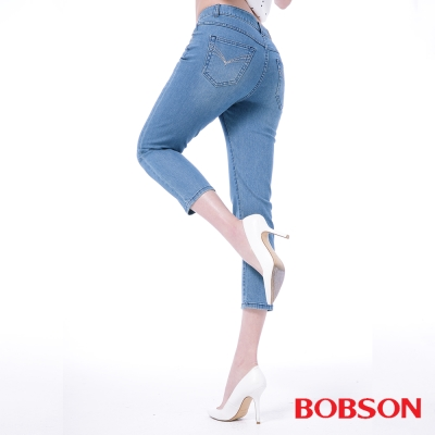 BOBSON   女款高腰膠原蛋白七分褲-淺藍