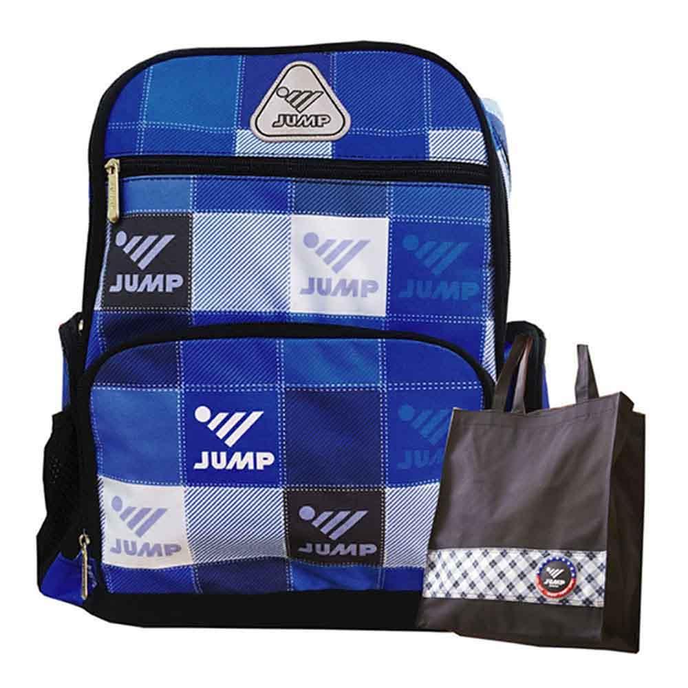 JUMP將門 反光昇華格紋護脊後背包-藍(JP5951)1+1手提袋