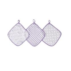 美國idealbaby 嬰兒小方巾(3入)-紫星星 IB651