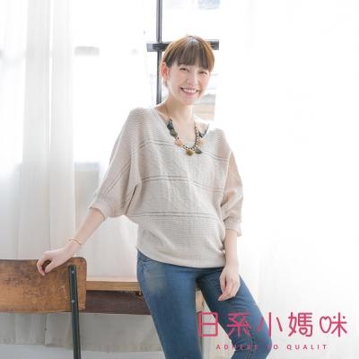 日系小媽咪孕婦裝-台灣製孕婦裝-微透感飛鼠袖短版針織上衣
