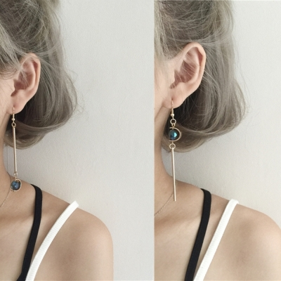 梨花HaNA-無耳洞韓國優雅小復古藍色星空寶石耳環夾式