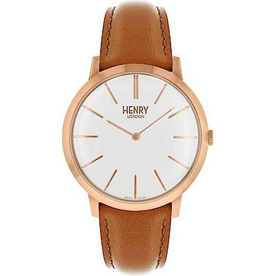 Henry London Iconi英倫時尚真皮手錶-白X玫瑰金框/40mm