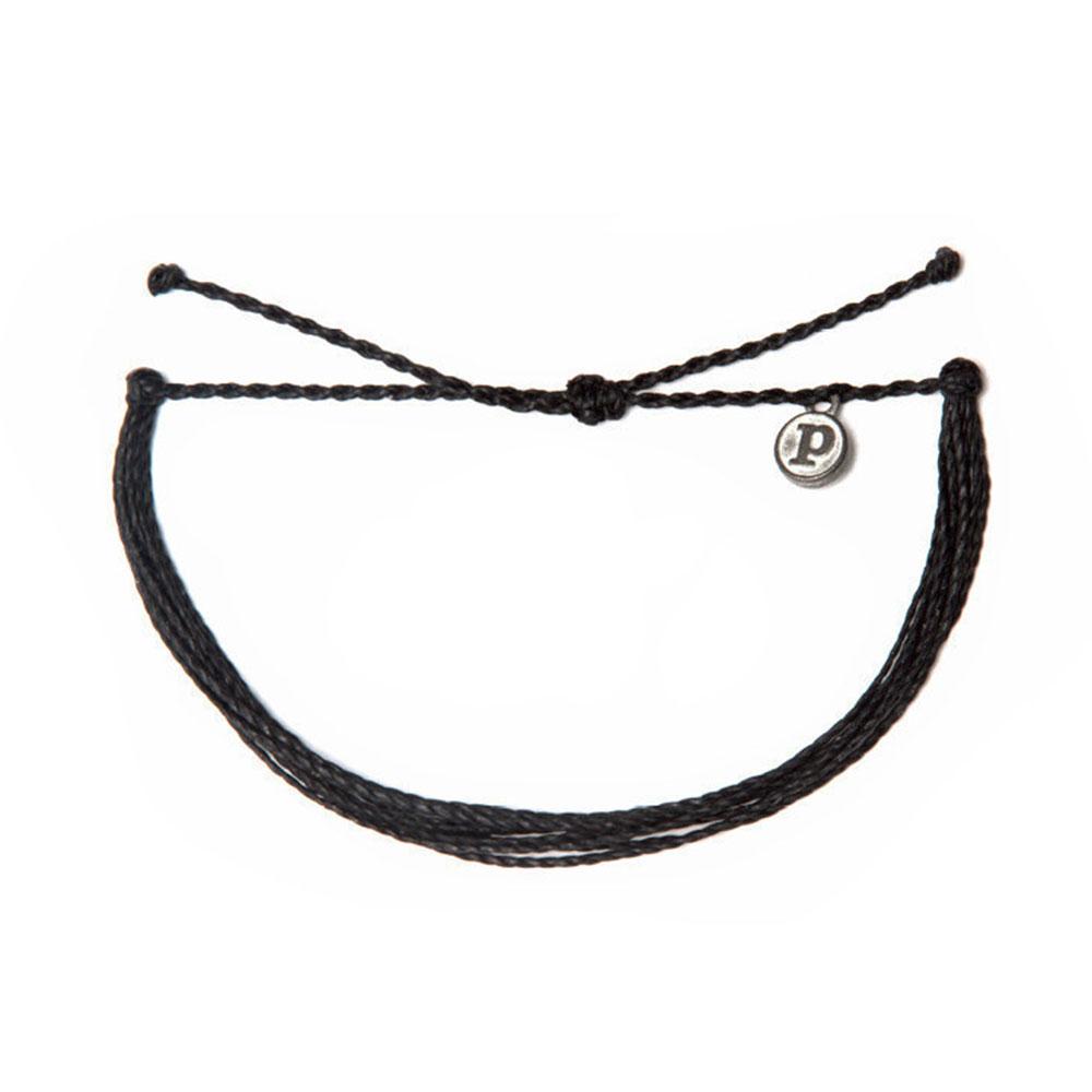 Pura Vida 美國手工 SOLID BLACK 黑色臘線衝浪手環