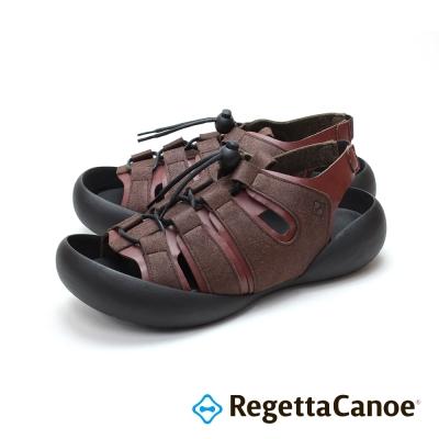 RegettaCanoe-異材質撞色扣帶 可調式樂步鞋-酒紅色