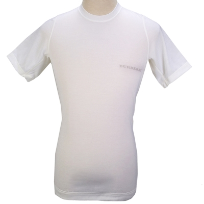 BURBERRY 輕著圓領透氣排汗上衣-白色