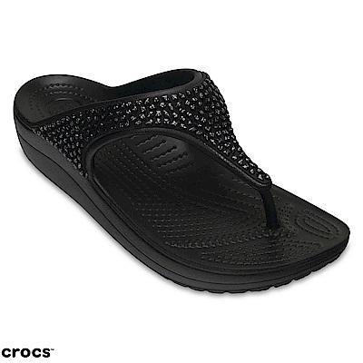 Crocs 卡駱馳 (女鞋) 思瓏厚底閃亮人字拖 204181-060