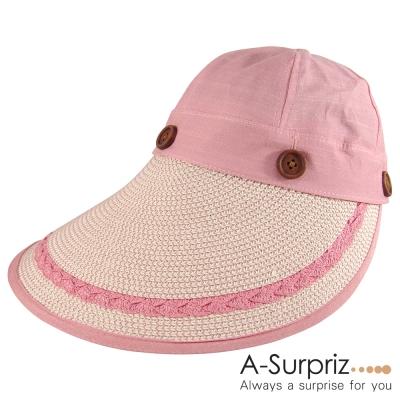 A-Surpriz 可拆兩用式大帽簷草帽(粉)