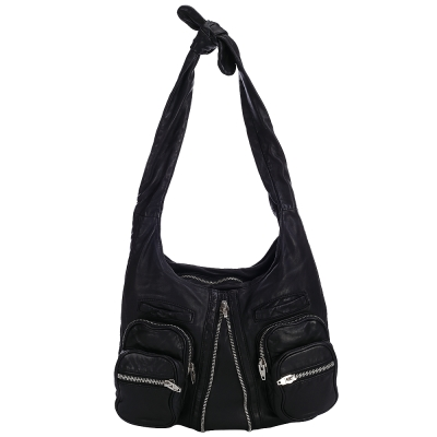 Alexander Wang DONNA 拉鍊設計綁結肩背包(黑色)