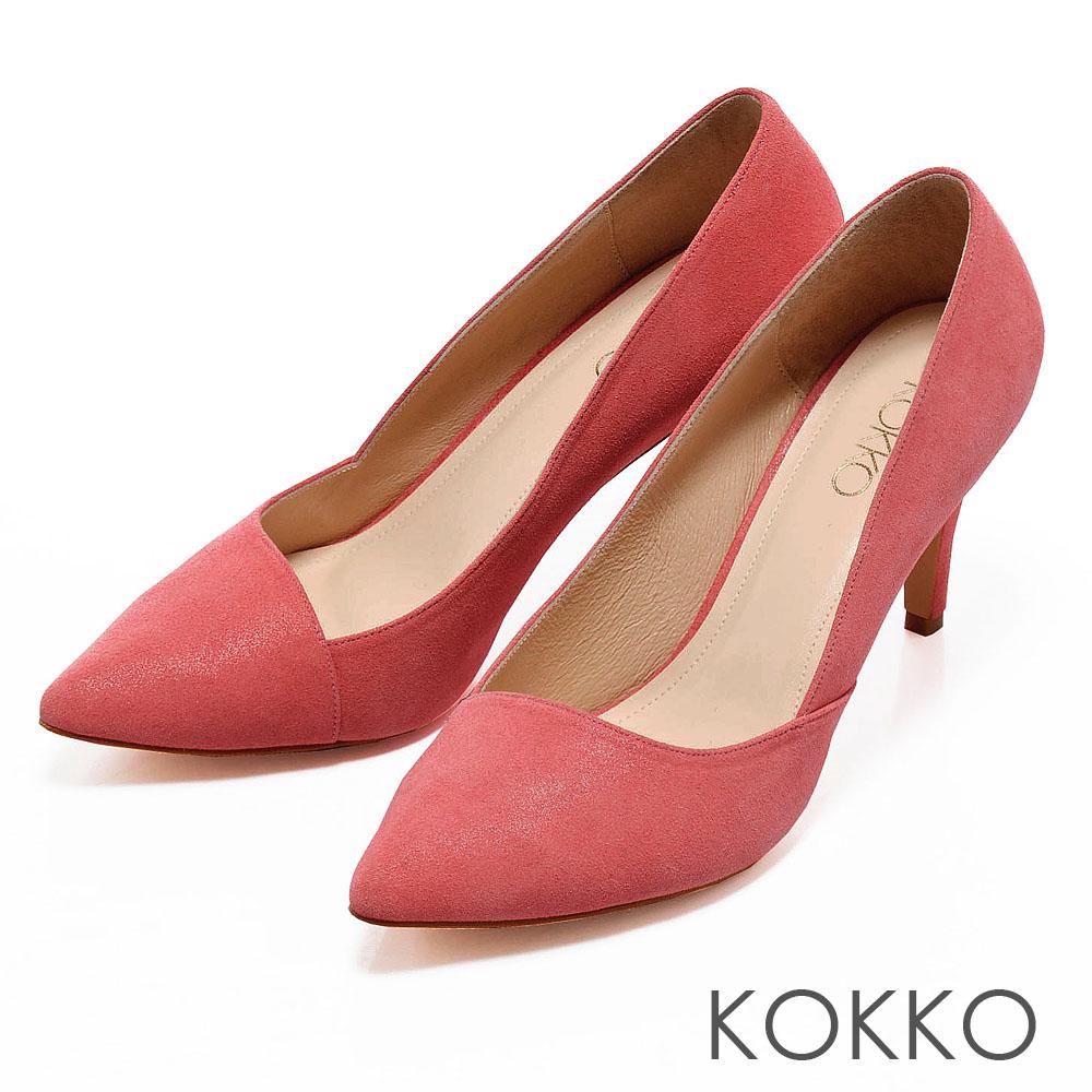 KOKKO摩登黑白配‧炫彩時尚斜口尖頭美型跟鞋 -極簡桃