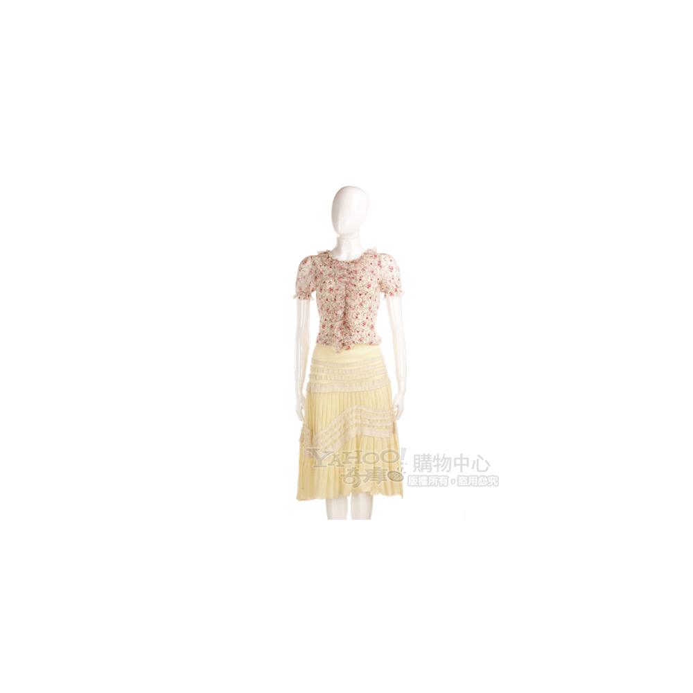 BLUMARINE-ANNA MOLINARI 鵝黃色百摺裙