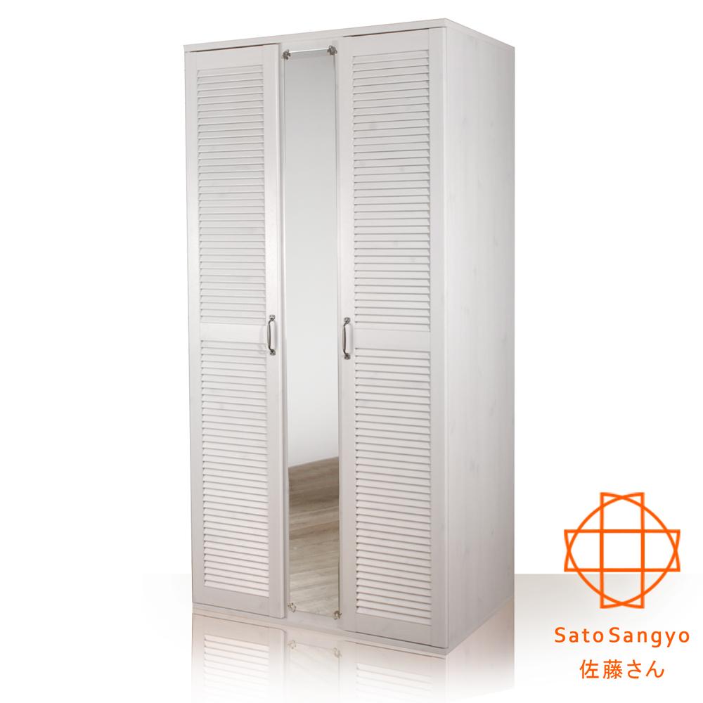 衣櫃 GINA歲月如歌百葉鏡面雙門衣櫃‧幅90cm-橡木白 Sato